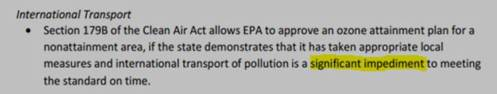 Foreign Pollution Responsibility and New EPA Ozone Standard